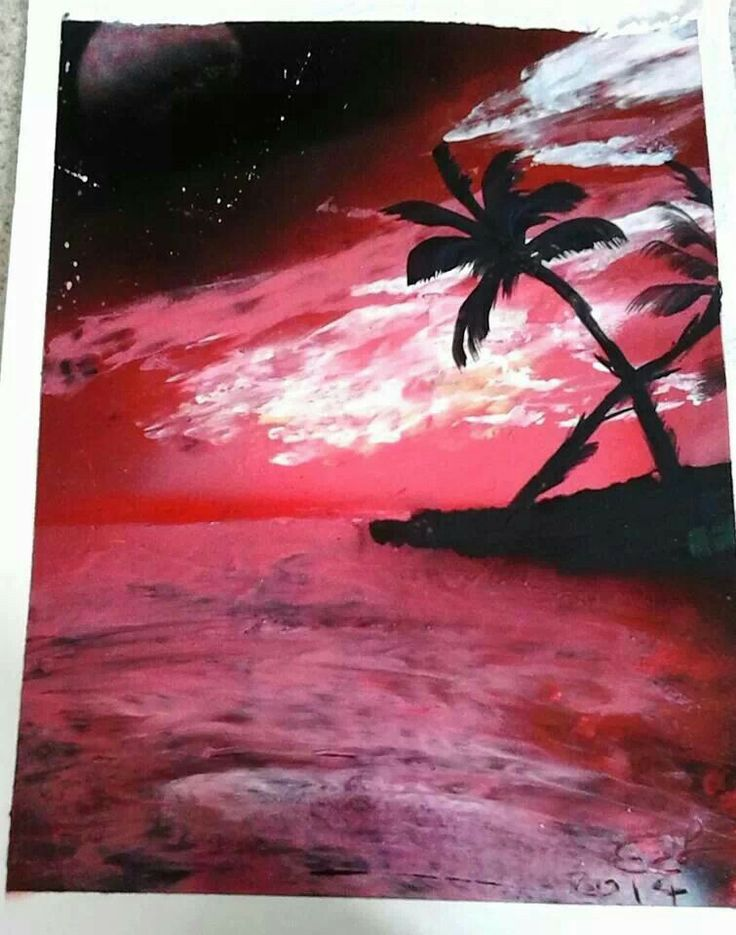 spray paint art sunset beach. Black Bedroom Furniture Sets. Home Design Ideas