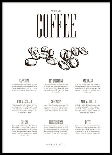 Poster voor de keuken met koffie, illustraties en tekst. Een stijlvolle poster met verschillende koffiedrankjes die ervoor zorgen dat je echt zin krijgt in koffie. Een perfecte keukenposter voor een clean design. Past goed bij onze soortgelijke posters in dezelfde stijl die u kunt vinden in de keuken categorie. www.desenio.nl
