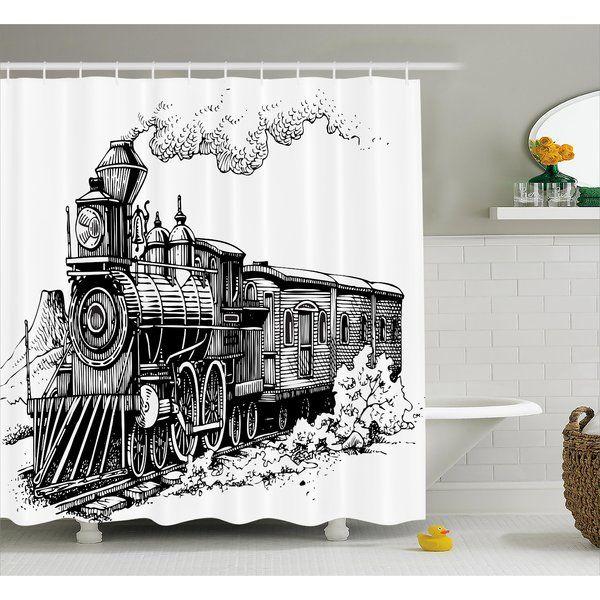 Jana Steam Engine Rustic Old Train Single Shower Curtain Black