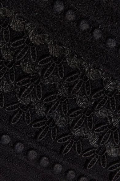 Oscar de la Renta - Embellished Wool-blend Crepe Skirt - Black