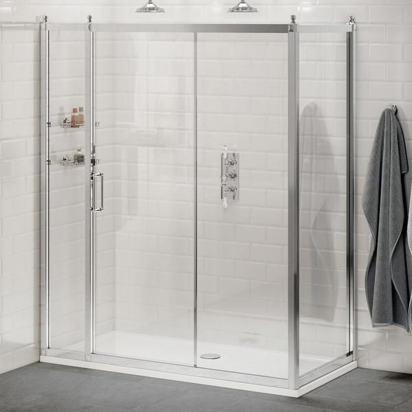 Burlington Sliding Shower Door Side Panel Without Tray Bathroomideas Bathroomdecor Bathroomremodel Bathroomdesign Showerroom Sliding Shower Door
