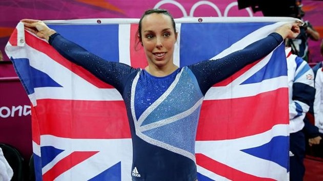 Elizabeth Tweddle of Britain celebrates winning a bronze medal in the women's gymnastics asymmetric bars final in the North Greenwich Arena during the London 2012 Olympic Games August 6, 2012