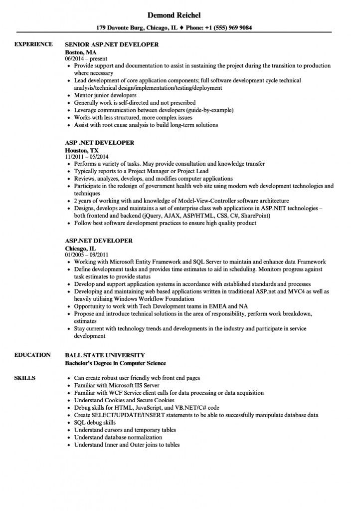 Asp Net Mvc Developer Resume 2021 Resume Best Resume Format Resume Template Word
