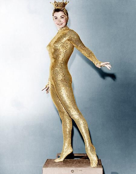 """Esther Williams in her gold sequined costume for """"Million Dollar Mermaid"""" (1952)"""