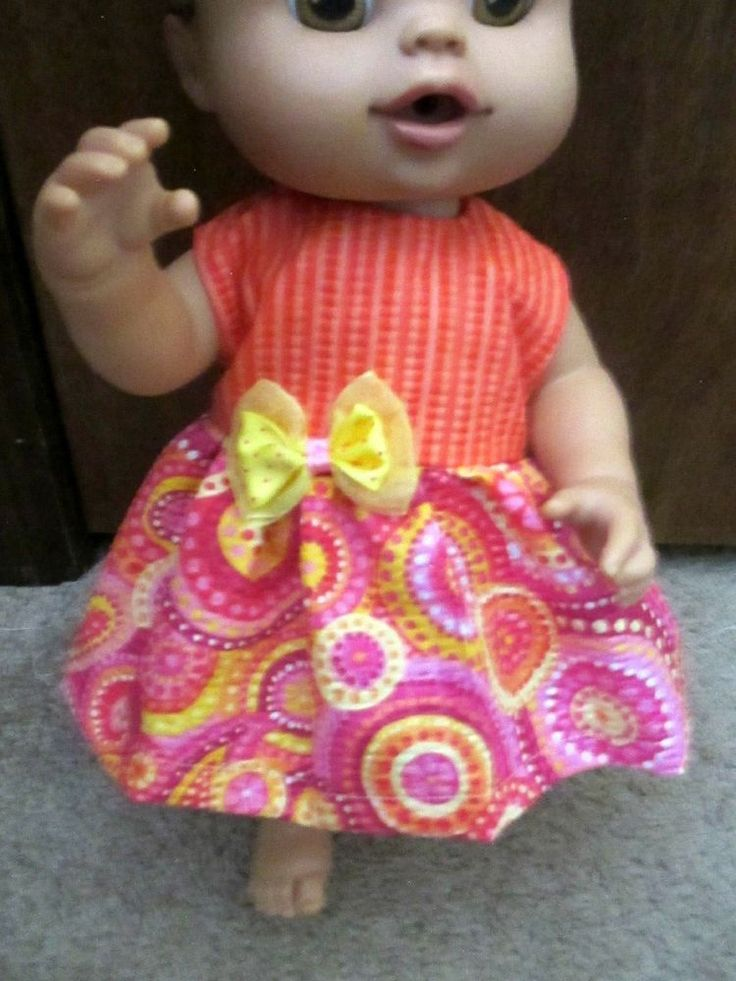 """13"""" Baby Alive Doll Clothes Dress Orange Yellow w Bow 13"""