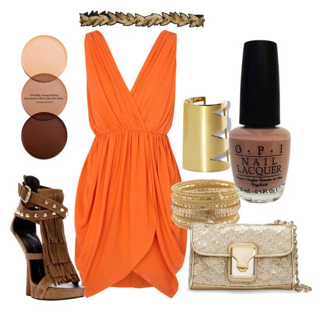 orange delight by lornamailtd on Polyvore featuring Alice + Olivia, Giuseppe Zanotti, GUESS by Marciano, Vince Camuto, Rare London, Mimco, OPI and Bobbi Brown Cosmetics