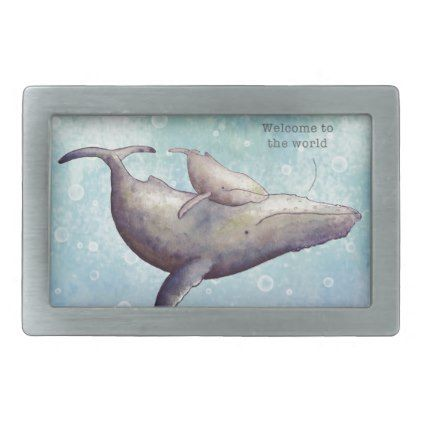 Adorable mother and baby whale. New baby card. Belt Buckle - ocean side nature waves freedom design