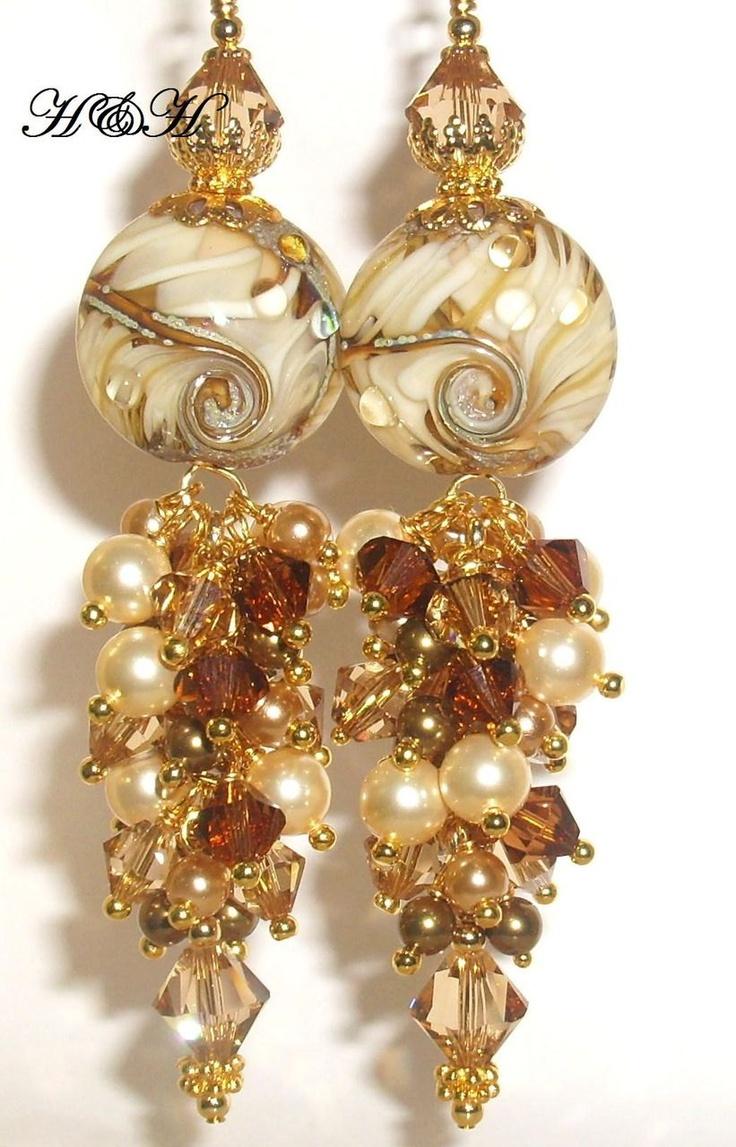 Lampwork Earrings In Tan and Brown.