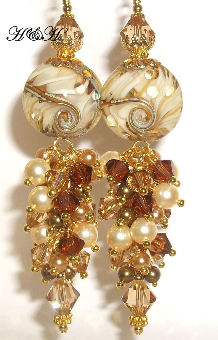 Lampwork Earrings In Tan and Brown. $55.00, via Etsy.