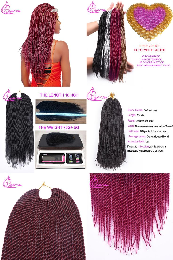 [Visit to Buy] Refined Hair Products Senegalese Twist Crochet Braids 18 Inch 30 Roots/Pack 18 Colors Crochet Hair Extensions  #Advertisement