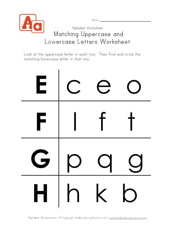 Kindergarten Upper And Lowercase Letters Worksheets
