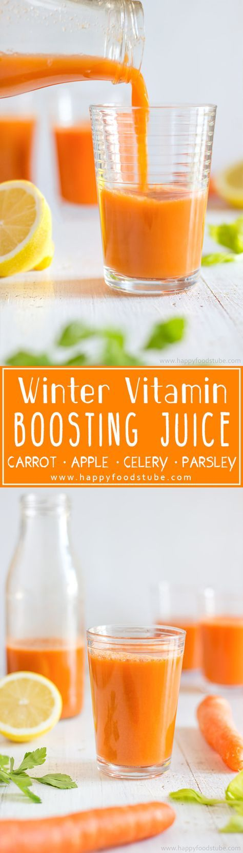 Winter Vitamin Boosting Juice will help you stay healthy throughout cold season! It's homemade, rich in Vitamin C & ready in 5 minutes! Only 5 ingredients - carrot, apple, celery and parsley | http://happyfoodstube.com
