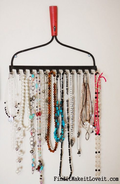 Have an old rake? Turn it into a jewelry holder!
