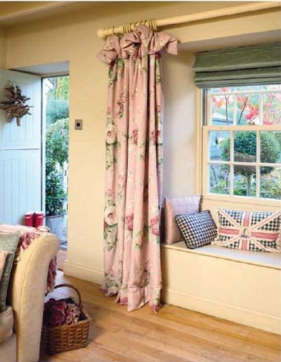 Curtain, Roman blind and cushions fabrics, Laura Ashley. Country home sitting room