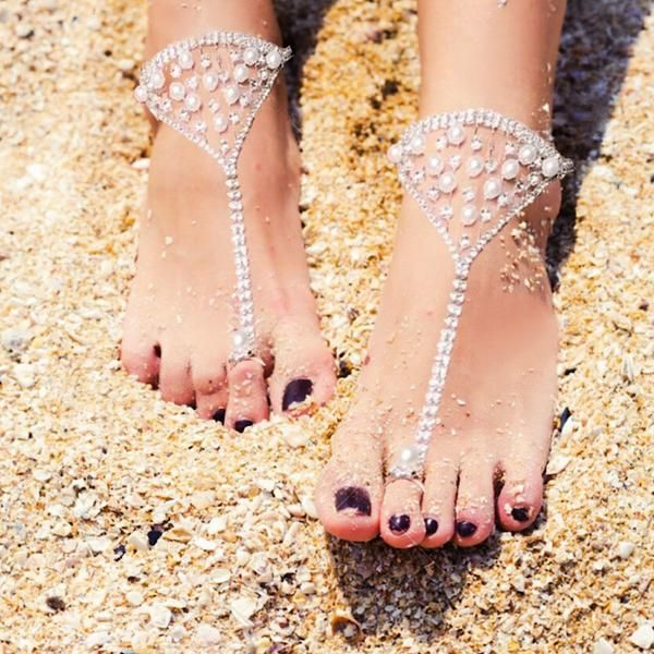 Shop Barefoot Sandals at Body Kandy Couture. Beautiful Boho Chic Foot Jewelry for Beach Weddings, Bohemian Weddings for the Bride and Bridesmaids