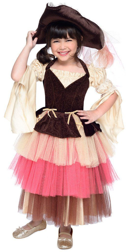 Deluxe Ombre Girls Pirate Dress and Hat