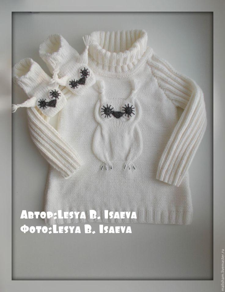 """Купить Платье """"Полярная сова"""" - платье, платье для девочки, платье вязаное, с аранами, сова"""