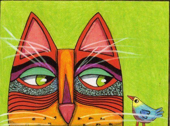 Cat Note Card Cat with Brave Bird Original от furthermorepress