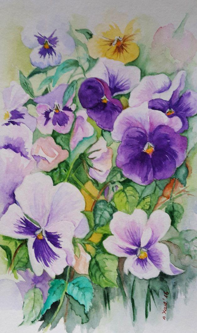 Blumen - Stiefmütterchen - Original Aquarell - 17x24 cm  Das Bild ist ein Original Aquarell, auf hochwertigem  Aquarellpapier 300 g, mit Schmincke Aquarellfarben gemalt und handsigniert.   Sie...