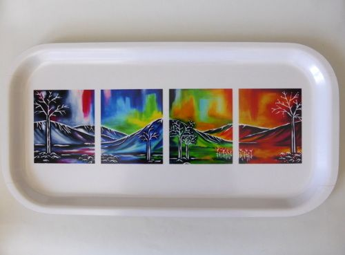We just sold two unique trays featuring artwork from noted Swedish artist Åsa Waara located in Northern Sweden. Åsa loves beautiful Lapland landscape that attracts visitors from all over the world.  The product is made in Sweden. They are made from sheets of birch veneer that are heat pressed and protected by a melamine base surface. These products are water resistant and dishwasher safe.  Immerse in Scandinavia l Visit NordicWonders.com  #Swedish #Sweden #Scandinavian #Tray #CoffeeTray…