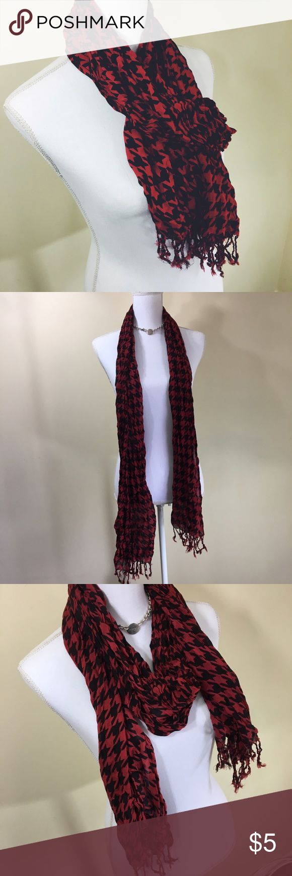 Red & Black Houndstooth Scarf Long red and black houndstooth designed scarf that's very lightweight, perfect for fall! Accessories Scarves & Wraps