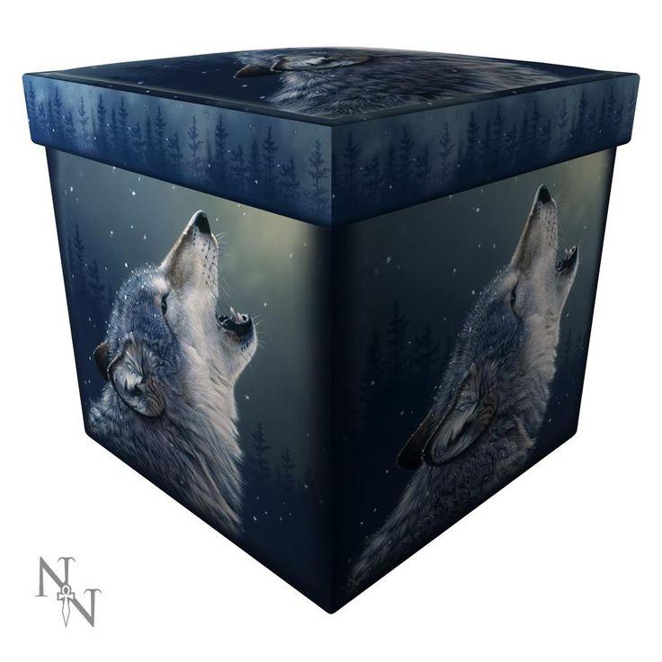Ascending Song – Huilende wolf ottoman doos (poef) Grijs – Fantasy – Nemesis Now