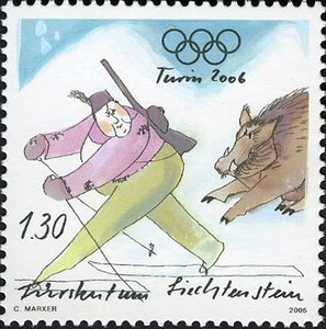 Stamp: Biathlon (Liechtenstein) (Winter Olympic Games) Mi:LI 1395,Sn:LI 1335,Yt:LI 1336,Zum:LI 1335