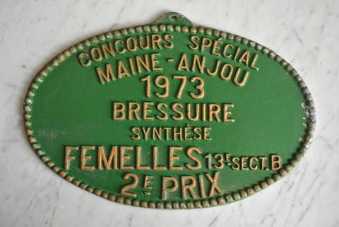 Vintage French Farmhouse Agriculture Award Plaque Cattle Competition 1973 French Farming History Bressuire