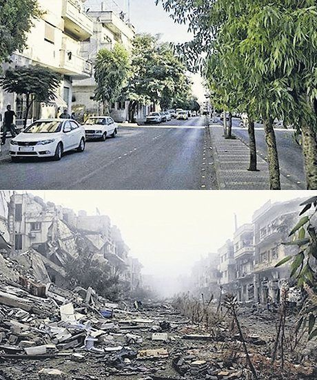 Before and after pictures of Syria. I remember walking down this street with my ice cream cone and happy.