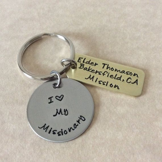 I Love My Missionary handstamped with attached name tag.