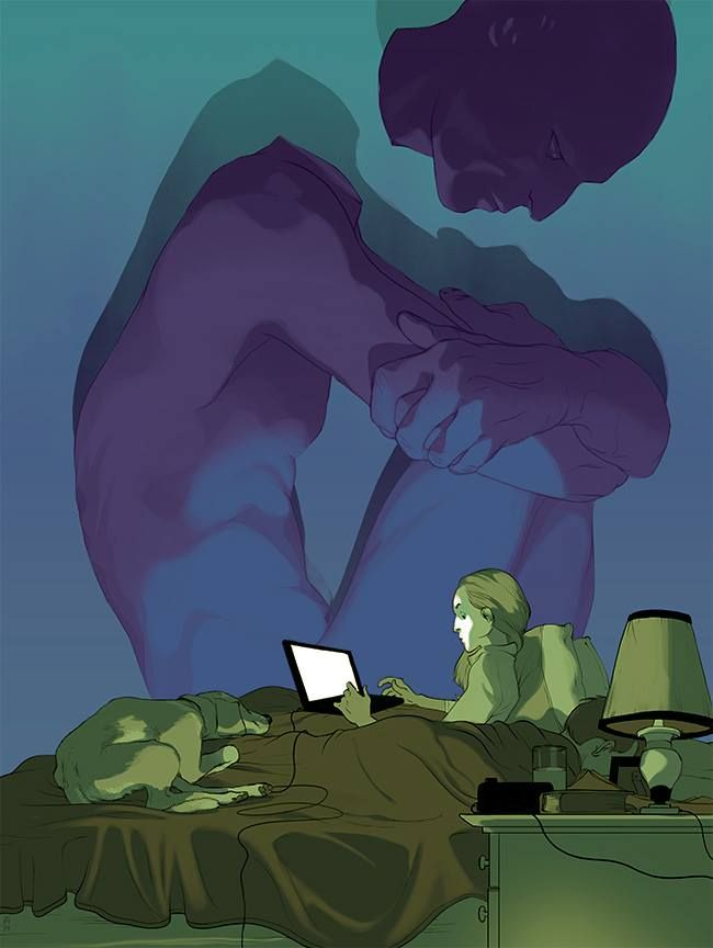 "(one of my ""Goodnight"" posts on Facebook ~P.H)...Illustration by Tomer Hanuka"