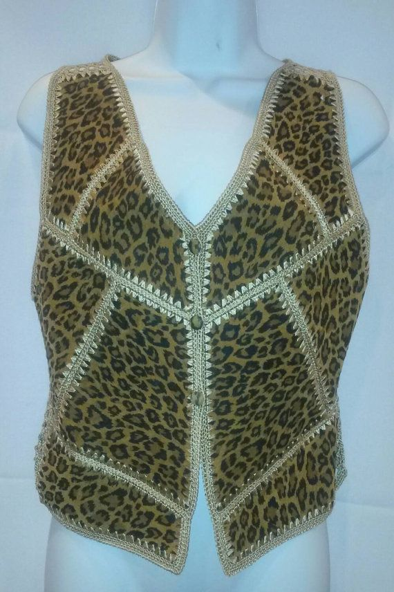 Vintage 80's Leather Vest Leopard Print by ScarletsWebTexas