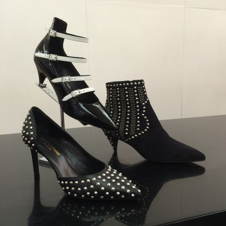 Shoes by #SaintLaurent #metalstuds #FolliFollie #FW14collection