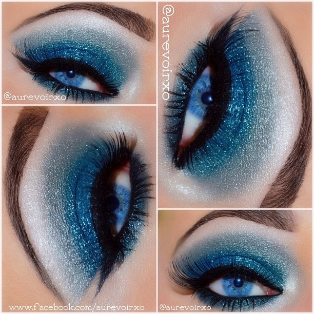 """I follow you deep sea baby.""  Lykke Li - I Follow Rivers   Steps on how to get the eye look from my recent Face of the day post! 1. Painterly Paint Pot 2. Lid: Make Up Forever Flash Color Palette - Dark blue on outer lid 3. Lid: Mac crushed metallic pigment - Rain Drop on inner lid, Mac reflects - Turquatic on outer lid and on top of Rain Drop.. also added @eyekandycosmetics glitter in Sour Blast on the lid as well 4. Crease: Silver from the Tarte True Blood Palette 5. Highlight/Tear…"