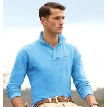 Men Polo Shirt Long Sleeve, sky blue