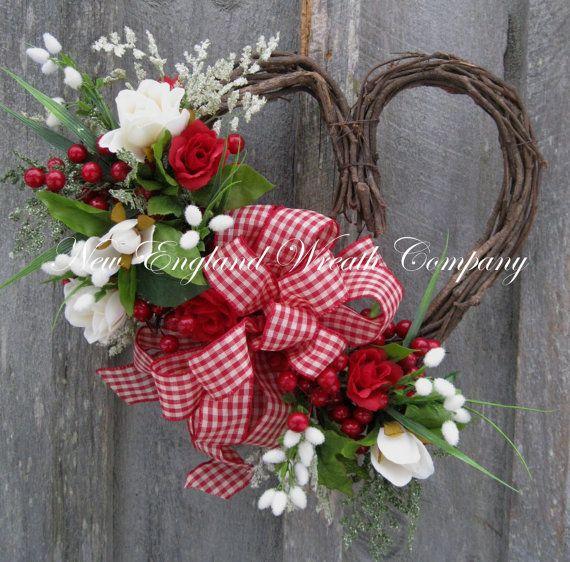 Valentine Wreath Heart Wreath Roses Gingham by NewEnglandWreath, $79.00