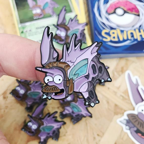 Ned Flanders x Nidorino Pin Badge with Trading Card & Sticker