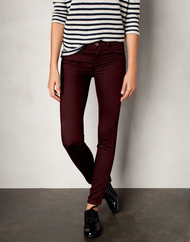 dark burgundy pants, striped shirt, black shiny oxford shoes