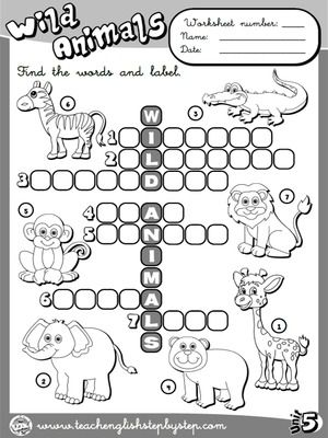 Wild Animals - Worksheet 1 (B&W version)
