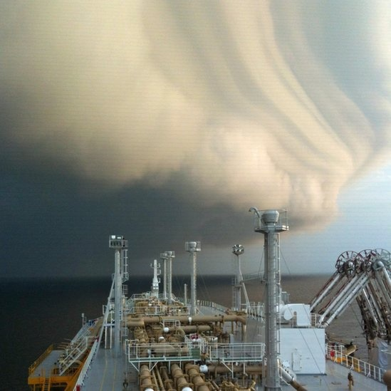 Tropical squall clouds at South China Sea, May 2012.
