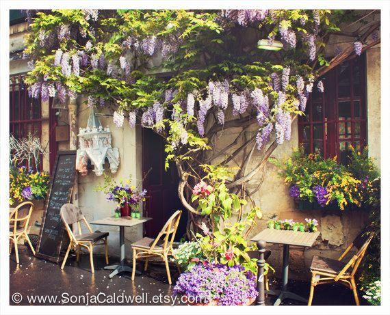 Wisteria Café Paris sidewalk cafe restaurant by SonjaCaldwell, $25.00