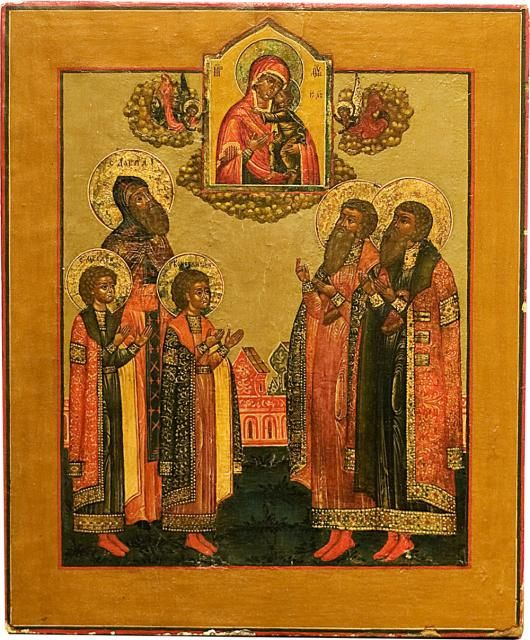 Icon of The Virgin of Tolga with the Saints David, Fyodor and Constantin. XVIII