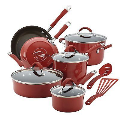 Rachael Ray Cucina 12-Piece Hard Enamel Cookware Set in Red NEW