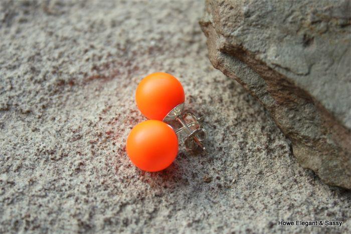 Love a pop of colour!  Large Neon Orange Swarovski pearl, Sterling Silver, stud earring