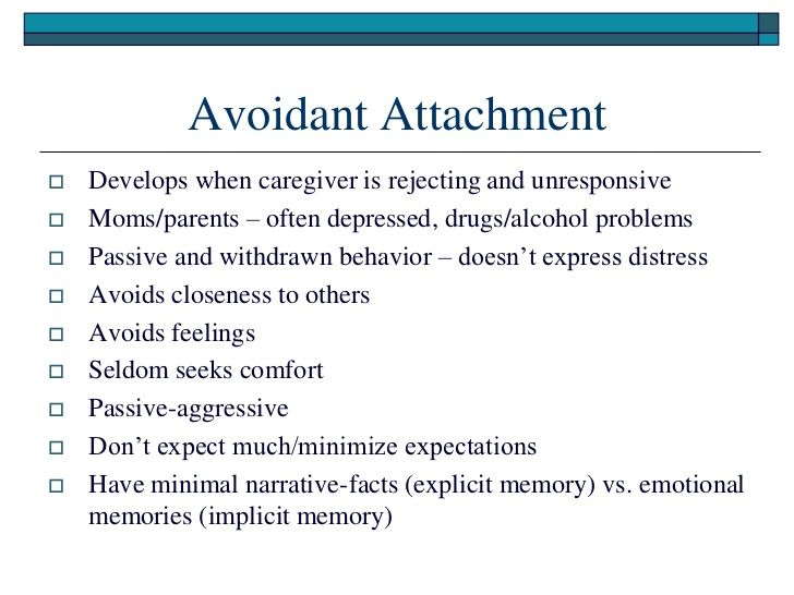 avoidant attachment | Anxiety | Attachment theory