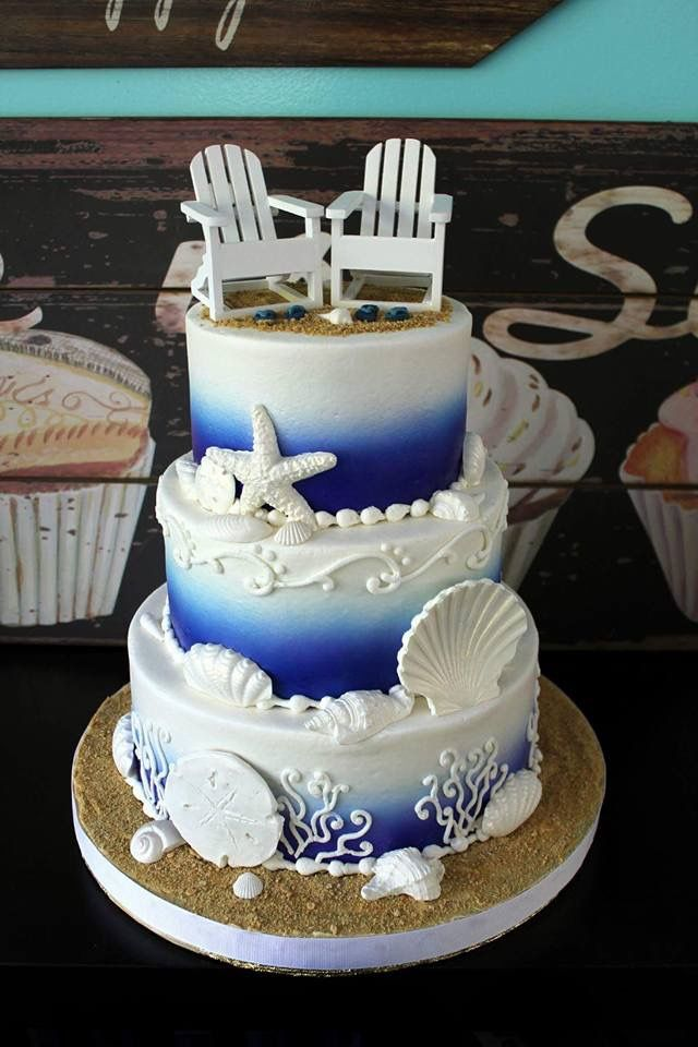 beach themed wedding cakes pinterest%0A Beach   Nautical wedding   Vow renewal cake  With the chairs topper could  be an Anniversary or Retirement Party cake    Beach Wedding   Pinterest