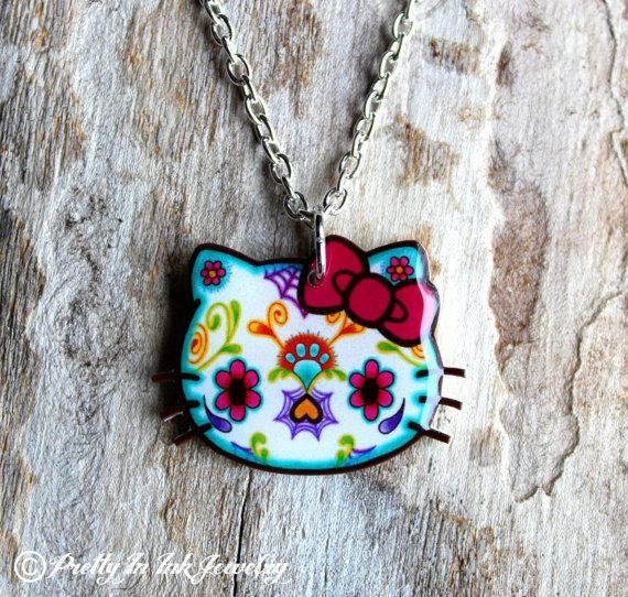 Day of the Dead Hello Kitty Sugar Skull Necklace