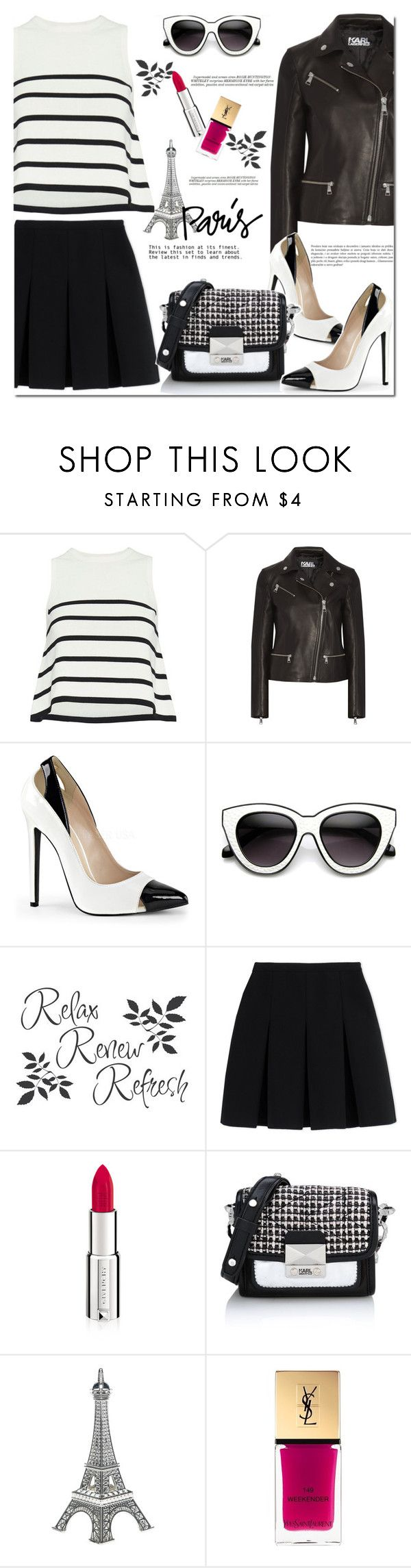 """""""One Direction: Striped Shirts"""" by huda-alalawi ❤ liked on Polyvore featuring Cardigan, Karl Lagerfeld, INDIE HAIR, Alexander Wang, Givenchy, Yves Saint Laurent, Whiteley, stripes and polyvoreeditorial"""