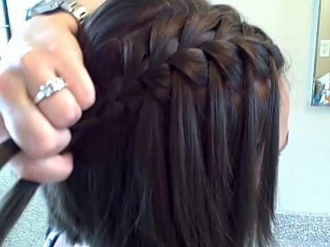 waterfall braid; good for short hair. French braid but grab pieces on
