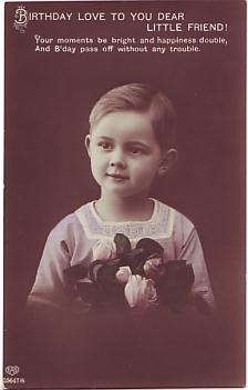 E A Schwerdtfeger Postcard - Birthday Love to You Dear Little Friend c1912